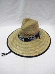 25 Units of Adults Large Rim Straw Sun Printed Bear - Sun Hats