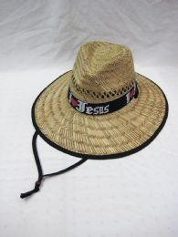 25 Units of Adults Large Rim Straw Sun Hat Jesus Printed - Sun Hats