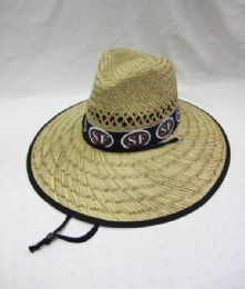 24 Units of Adults Large Brim San Francisco Straw Summer Sun Hat - Sun Hats