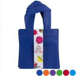 24 Units of Tote Bag Small Craft 6x6in 5pk Six Colors NoN-Woven/card - Tote Bags & Slings