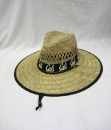 24 Units of Adults Large Brim Cali Straw Summer Sun Hat - Sun Hats