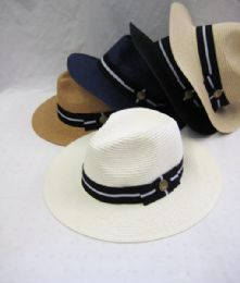 36 Units of Unisex Assorted Striped Fedora Hat - Fedoras, Driver Caps & Visor