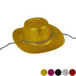 24 Units of Plastic Glitter Cowboy Hat - Cowboy & Boonie Hat