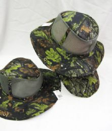 24 Units of Men's Mesh Boonie / Hiking Hat in Camo Leaves - Bucket Hats