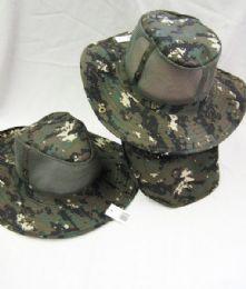 24 Units of Men's Mesh Boonie / Hiking Hat in Digital Camo - Bucket Hats