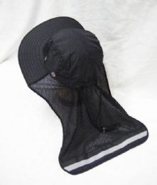 24 Units of Mens Mesh Boonie / Hiking Hat In Black - Bucket Hats