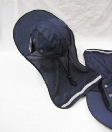 24 Units of Mens Mesh Boonie / Hiking Hat In Navy Blue - Bucket Hats