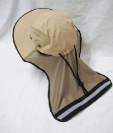 24 Units of Mens Mesh Boonie / Hiking Hat in Beige - Bucket Hats