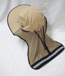 24 Units of Mens Mesh Boonie / Hiking Hat In Beige - Bucket Hats