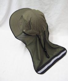 24 Units of Mens Mesh Boonie / Hiking Hat in Khaki Green - Bucket Hats