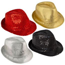 24 Units of Sequin/Metallic Fedora - Fedoras, Driver Caps & Visor