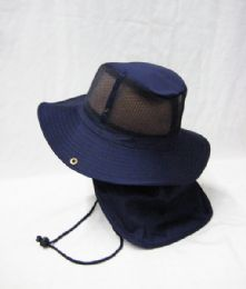 24 Units of Men's Mesh Boonie / Hiking Hat in Navy Blue - Bucket Hats