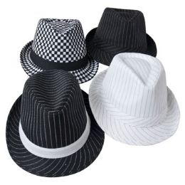 24 Units of Gangster Hat Striped/Checkered - Fedoras, Driver Caps & Visor