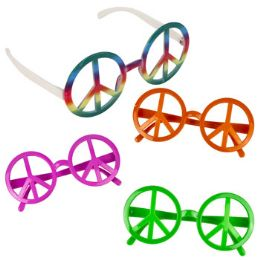 24 Units of Peace Sign Plastic Glasses - Costumes & Accessories