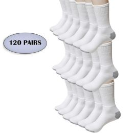120 Units of Bulk Socks Men's Crew Cut Athletic Size 10-13 In White W/grey - Wholesale Case Of 120 Pairs - Men's Socks