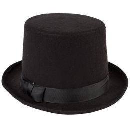 12 Units of Black Flocked Victorian Tophat - Costumes & Accessories