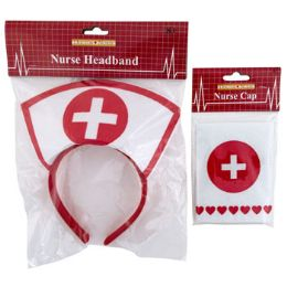 48 Units of Nurse Cap Or Headband Dressup - Costumes & Accessories