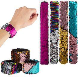 48 Units of Mermaid Slap Reversing Sequins Bracelets - Bracelets