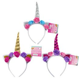 24 Units of Unicorn Headband W/Flowers - Headbands