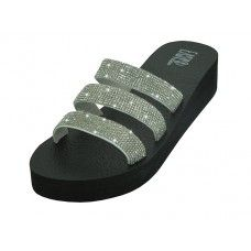 18 Units of Women's Rhinestone Upper Wedge Sandals ( *silver Color ) - Women's Sandals