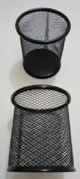 24 Units of Black Mesh Pencil Holder [round] - Office Supplies
