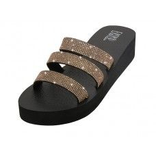 18 Units of Women's Rhinestone Upper Wedge Sandals ( *rose Gold Color ) - Women's Sandals