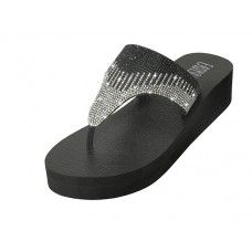18 Units of Women's Rhinestone Upper Wedge Sandals ( *Black/Silver Color ) - Women's Sandals