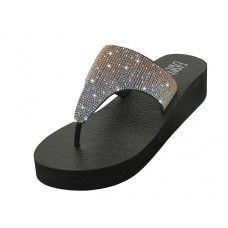 18 Units of Women's Rhinestone Upper Wedge Sandals ( Rose Gold Color) - Women's Sandals