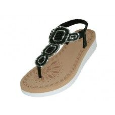 18 Units of Women's Super Soft Rhinestone Upper Sandals (*Black Color ) - Women's Sandals