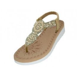 18 Units of Women's Super Soft Rhinestone Upper Sandals ( *Rose Gold Color ) - Women's Sandals