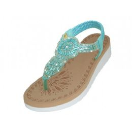 18 Units of Women's Super Soft Rhinestone Upper Sandals (Blue Color ) - Women's Sandals