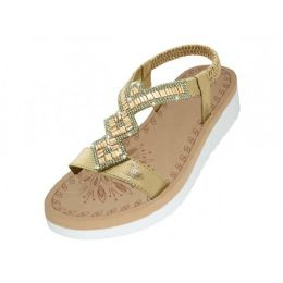 18 Units of Women's Super Soft Rhinestone Upper Sandals (Rose Gold Color ) - Women's Sandals