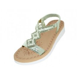 18 Units of Women's Super Soft Rhinestone Upper Sandals (Silver Color) - Women's Sandals
