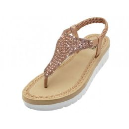 18 Units of Women's Super Soft Rhinestone Upper Sandals (*Rose Gold Color ) - Women's Sandals