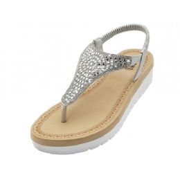 18 Units of Women's Super Soft Rhinestone Upper Sandals (*Silver Color) - Women's Sandals