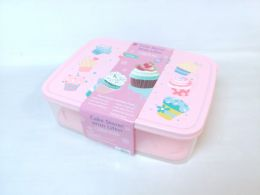 12 Units of PL. CAKE/CUP CAKE STORAGE BOX RECT 6ST/CS - Storage Holders and Organizers