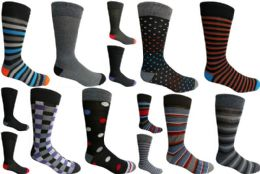 120 Units of Mens Dress Socks Value Deal Mix Prints, Stripes and Solid Colors Size 10-13 - Mens Dress Sock