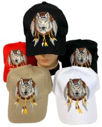 24 Units of Adjustable Baseball Hat Wolf with Dream Catcher Assorted - Baseball Caps & Snap Backs