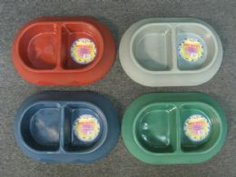 72 Units of Pl. Dog Bowl Oval 2 Section 36pc/cs - Pet Supplies
