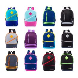 "24 Units of 17"" Backpacks With Front Zipper Pockets in 12 Assorted Styles Colors - Backpacks 17"""