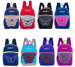 24 Units of Classic Bungee Wholesale Backpacks in 8 Assorted Colors - Backpacks 17""