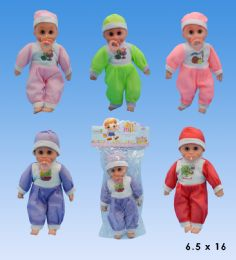 24 Units of 14 Baby Doll In PVC Bag Header - Dolls