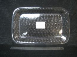 72 Units of Pl. Clear Tray Rect. Diag. Lines 36pc/c - Plastic Tableware