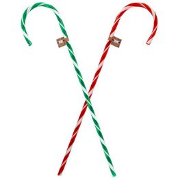 48 Units of Plastic Candy Cane Translucent - Christmas Decorations