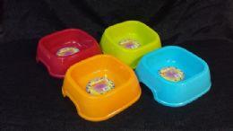 72 Units of Pl. Dog Bowl Lg sq - Pet Accessories