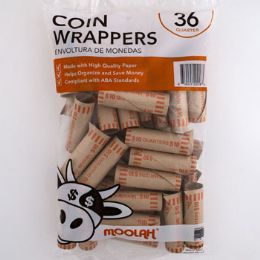 50 Units of Coin Wrappers - Quarters 36ct - Coin Holders & Banks
