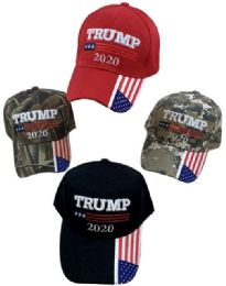 24 Units of Trump 2020 with American Flag on Bil - Baseball Caps & Snap Backs