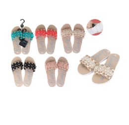 36 Units of CC Sandal Ladies PVC Flower w/ Pearls Rose Gold - Women's Flip Flops