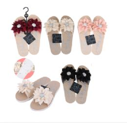 36 Units of CC Sandal Ladies Flower w/ Stone - Women's Flip Flops