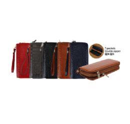 144 Units of CC Wallet Dual Zipper Croc Shiny - Wallets & Handbags